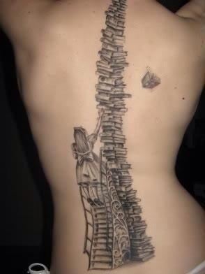 Amazing girl and back book tattoo - Book Tattoos