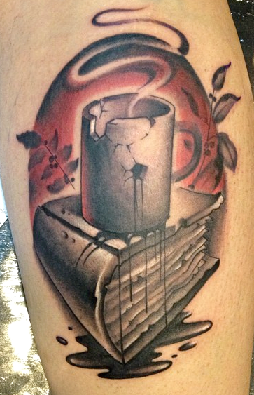 Jon Ragoe book coffee cup tattoo - Book Tattoos