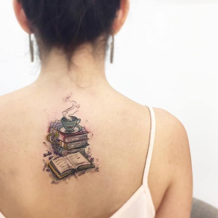 book pile tattoo 1 - Book Tattoos